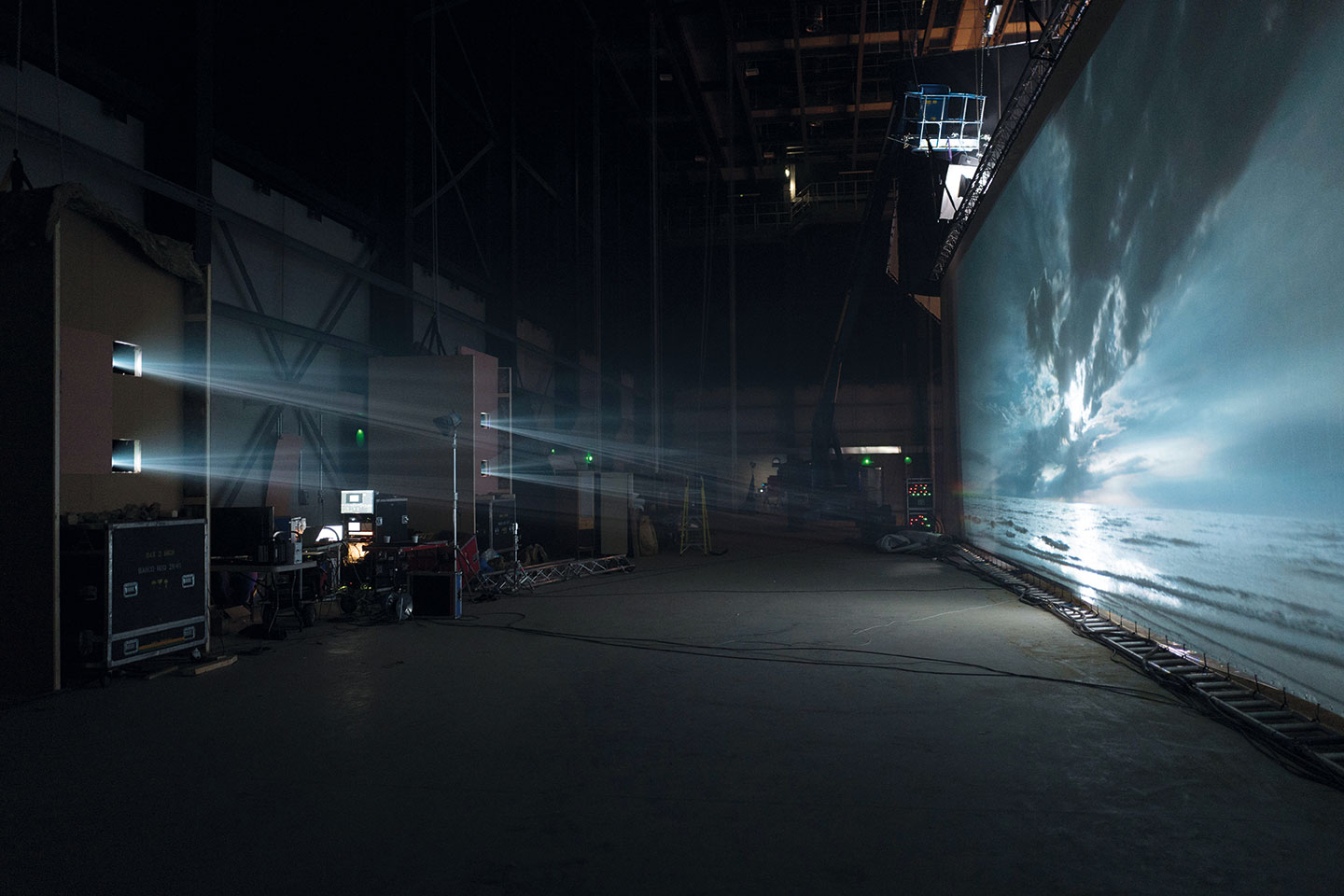 A glimpse of the huge scale of the back projection screen Lester built at Pinewood.