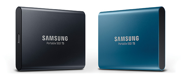 The Samsung Portable SSD T5 drive is small, light and portable.