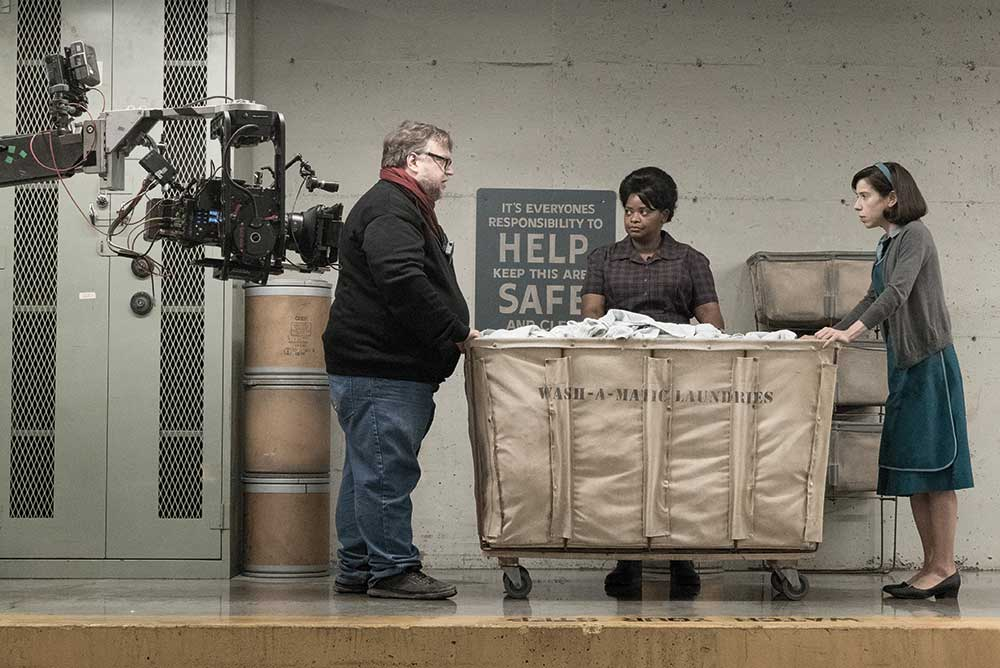 Director Guillermo del Toro on set with Sally Hawkins and Octavia Spencer.