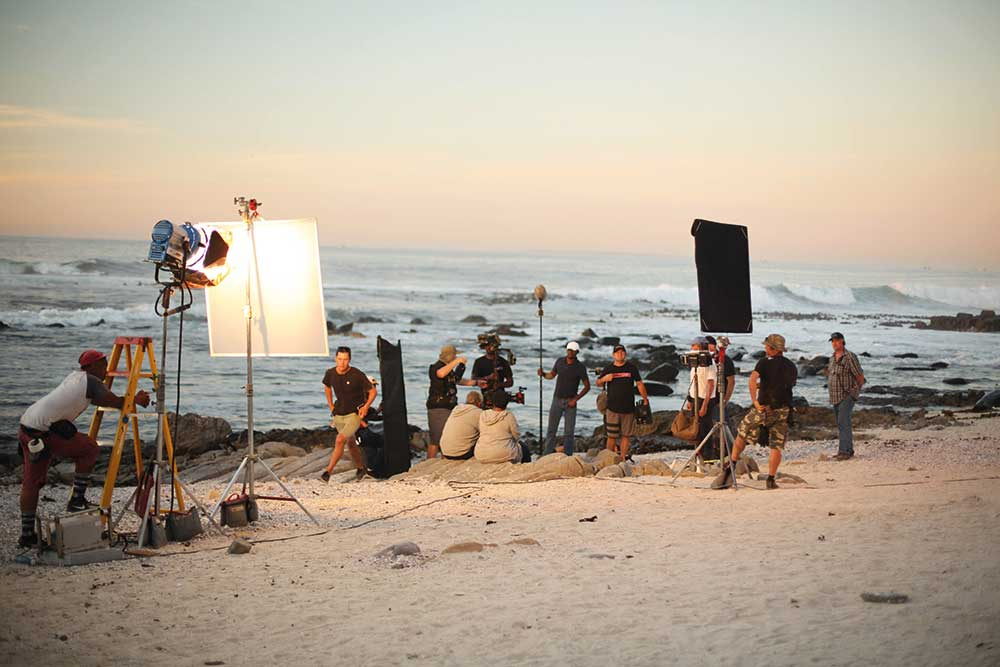 On set in South Africa.