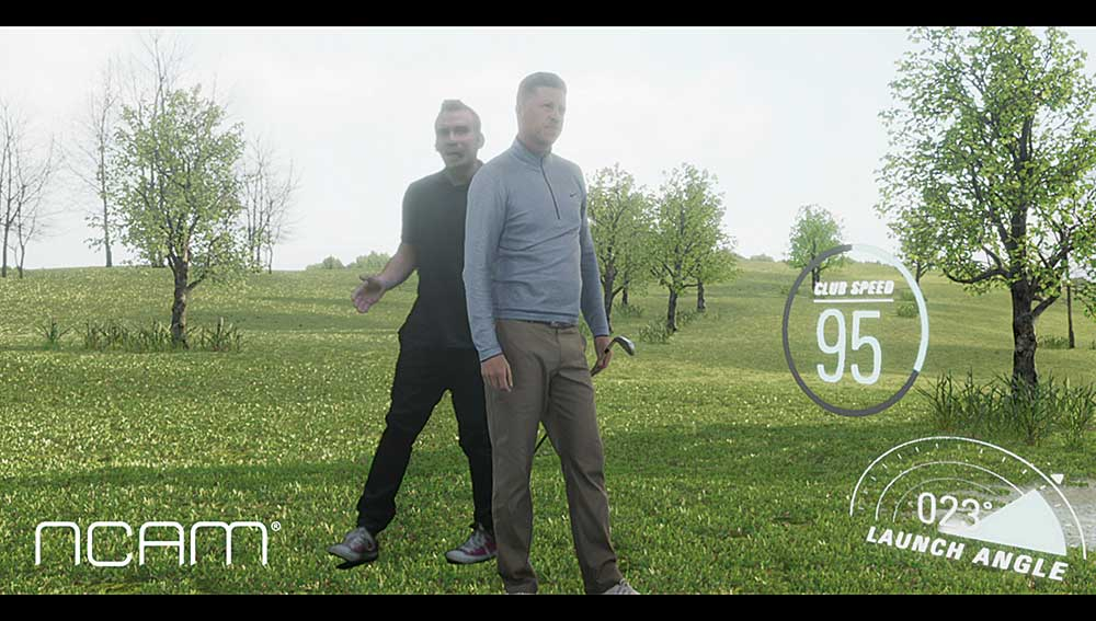 He's behind you! With Real Depth, the presenter can walk around the digital golf pro, including behind him.