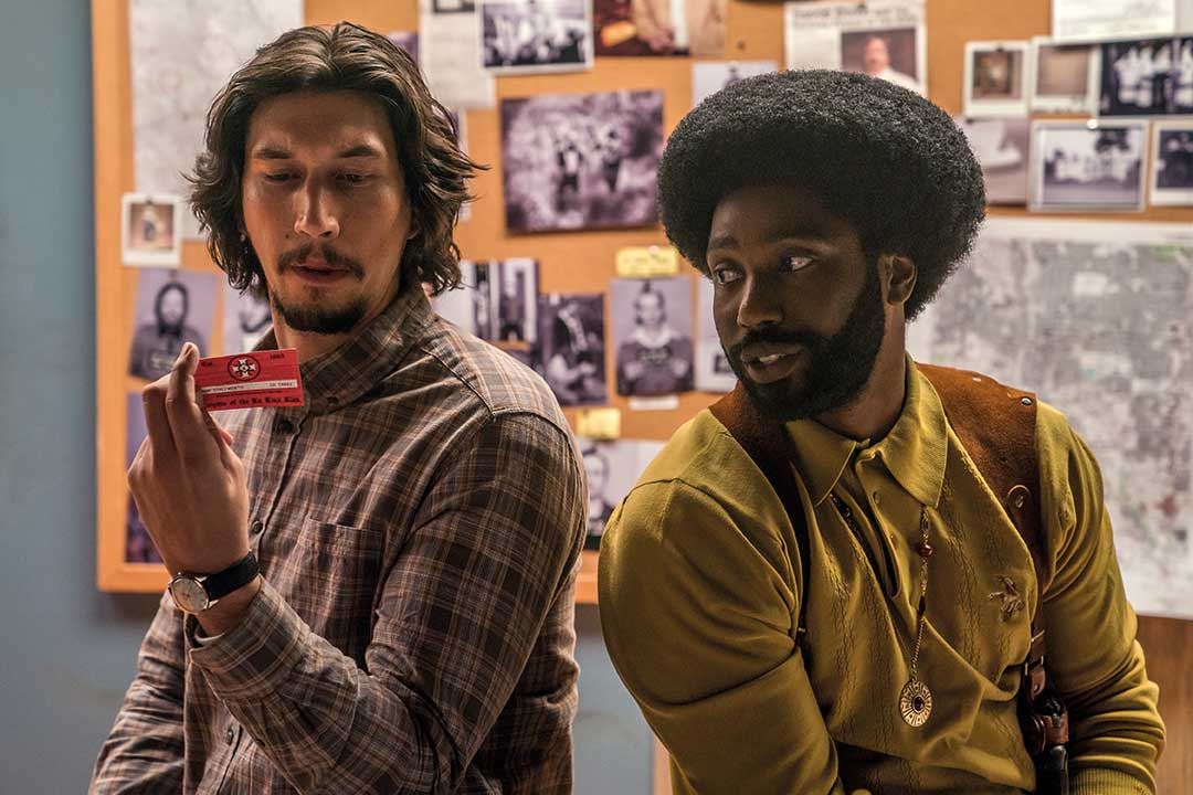 Adam Driver as police officer Flip Zimmerman and John David Washington as Ron Stallworth.