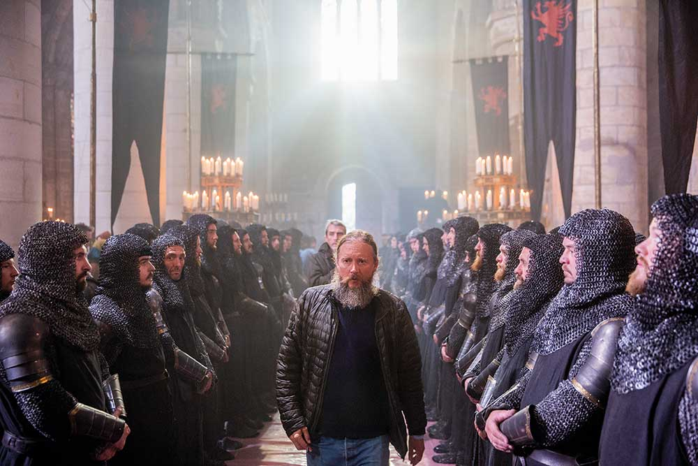 Director David Mackenzie inspects the troops during filming.