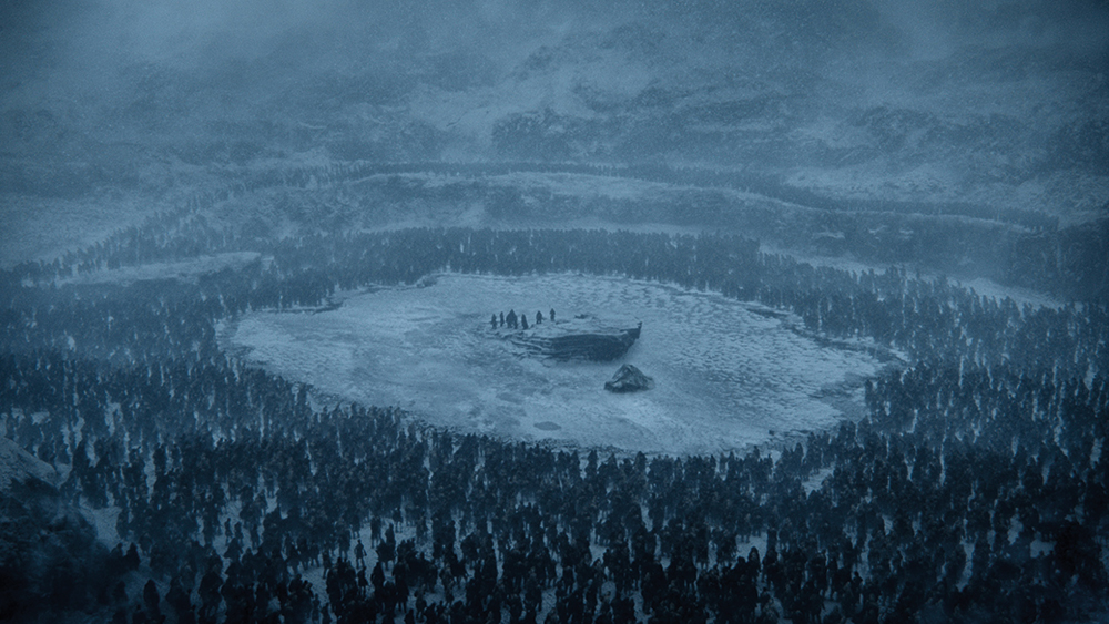 For Beyond the Wall, an old quarry in Northern Ireland was transformed into a frozen lake, complete with zombies and a dragon. This required production design, as well as VFX and SFX