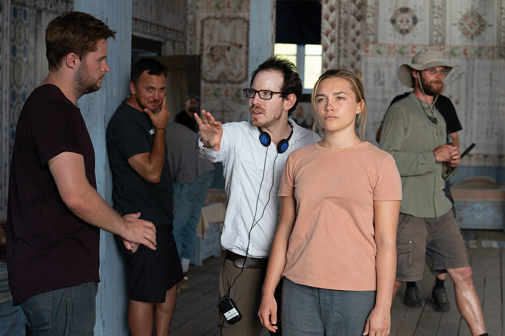 Director Ari Aster with the cast. The shoot took place in Sweden and Hungary