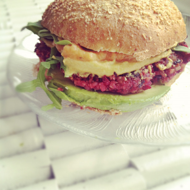 VEGAN Hearty Black Bean Beet Burgers