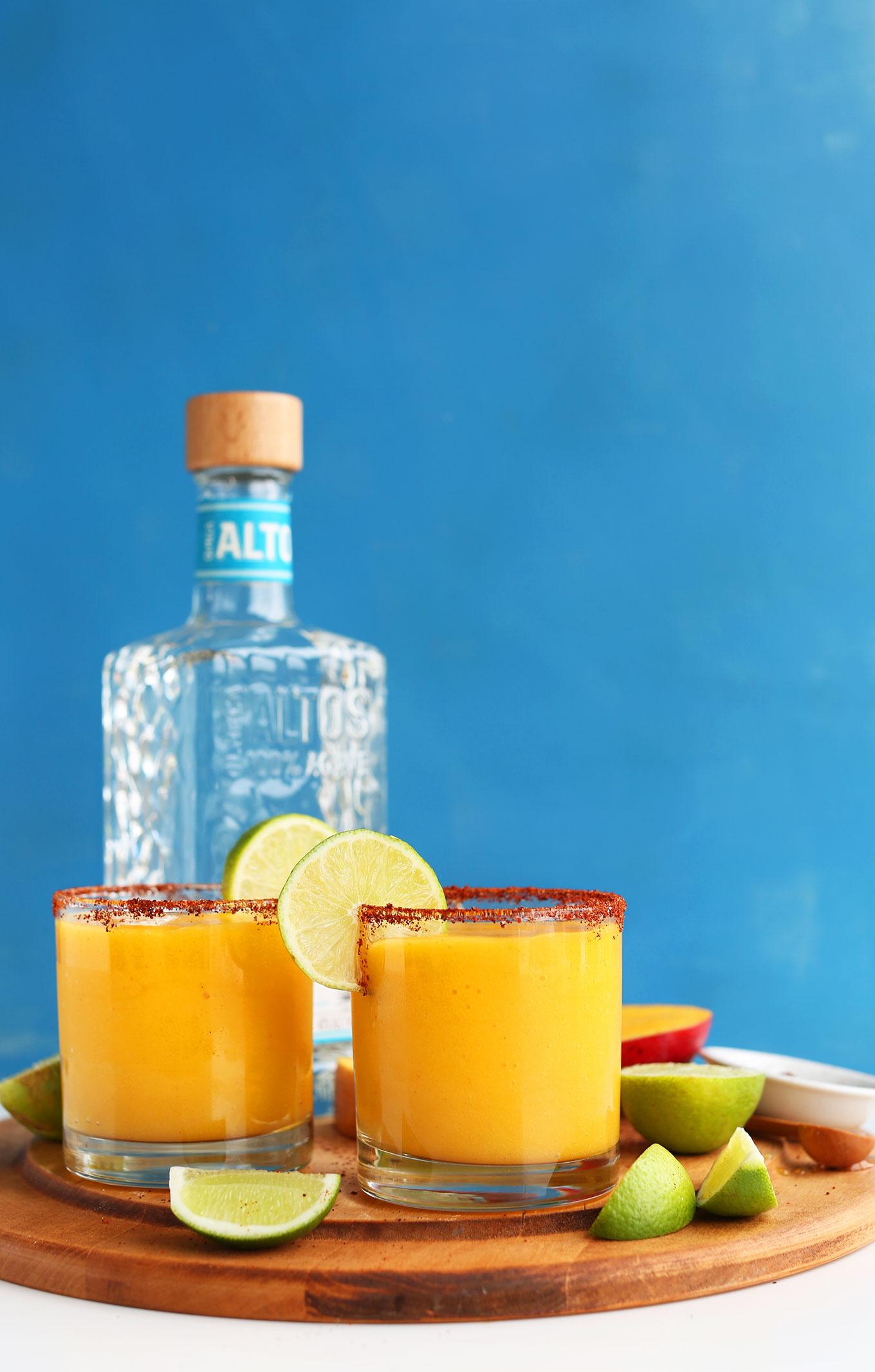 Sweet + Spicy Mango Chili Lime Margs // via Minimalist Baker