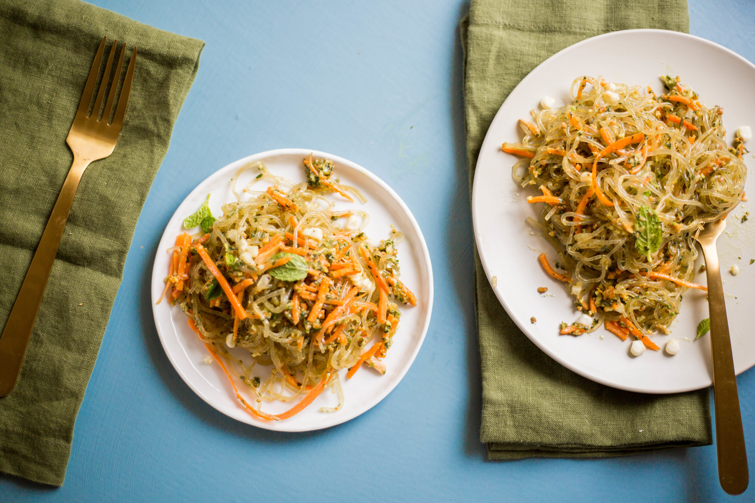 Mint Ginger Pesto over Kelp Noodles | raw vegan gluten free