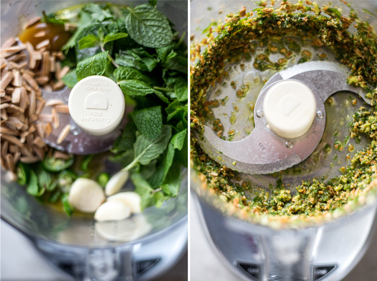 mint pesto with ginger and toasted almonds.
