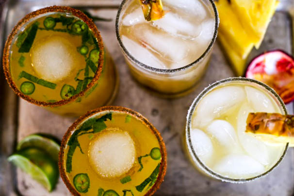 Fresh Citrus Margaritas 2 recipes: spicy pineapple mint + grapefruit passionfruit.