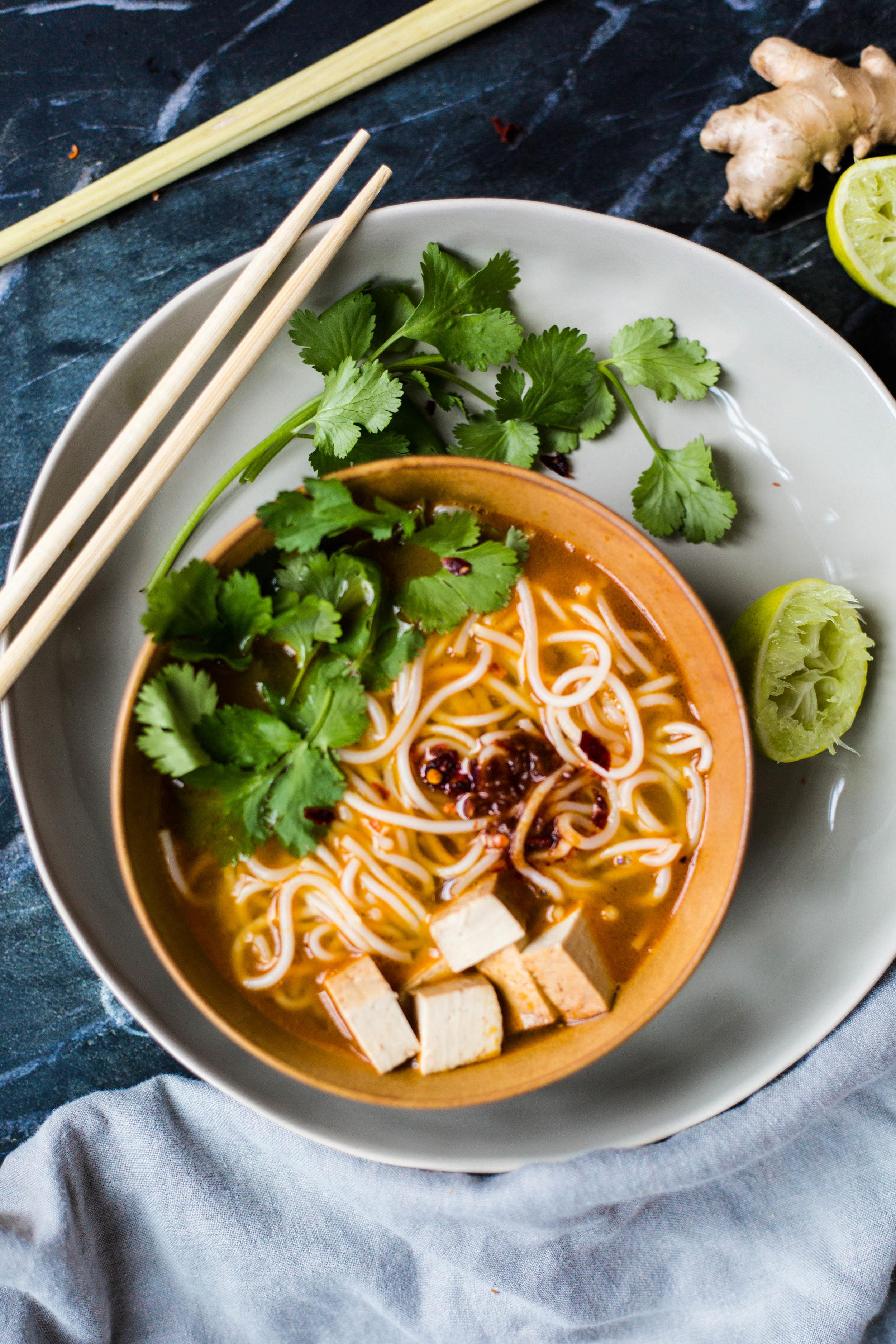 Laksa Noodles in Lime Broth | simple, easy to make, delicious and healthy! Plant-based nutrition #purekitchenblog #honestcompany