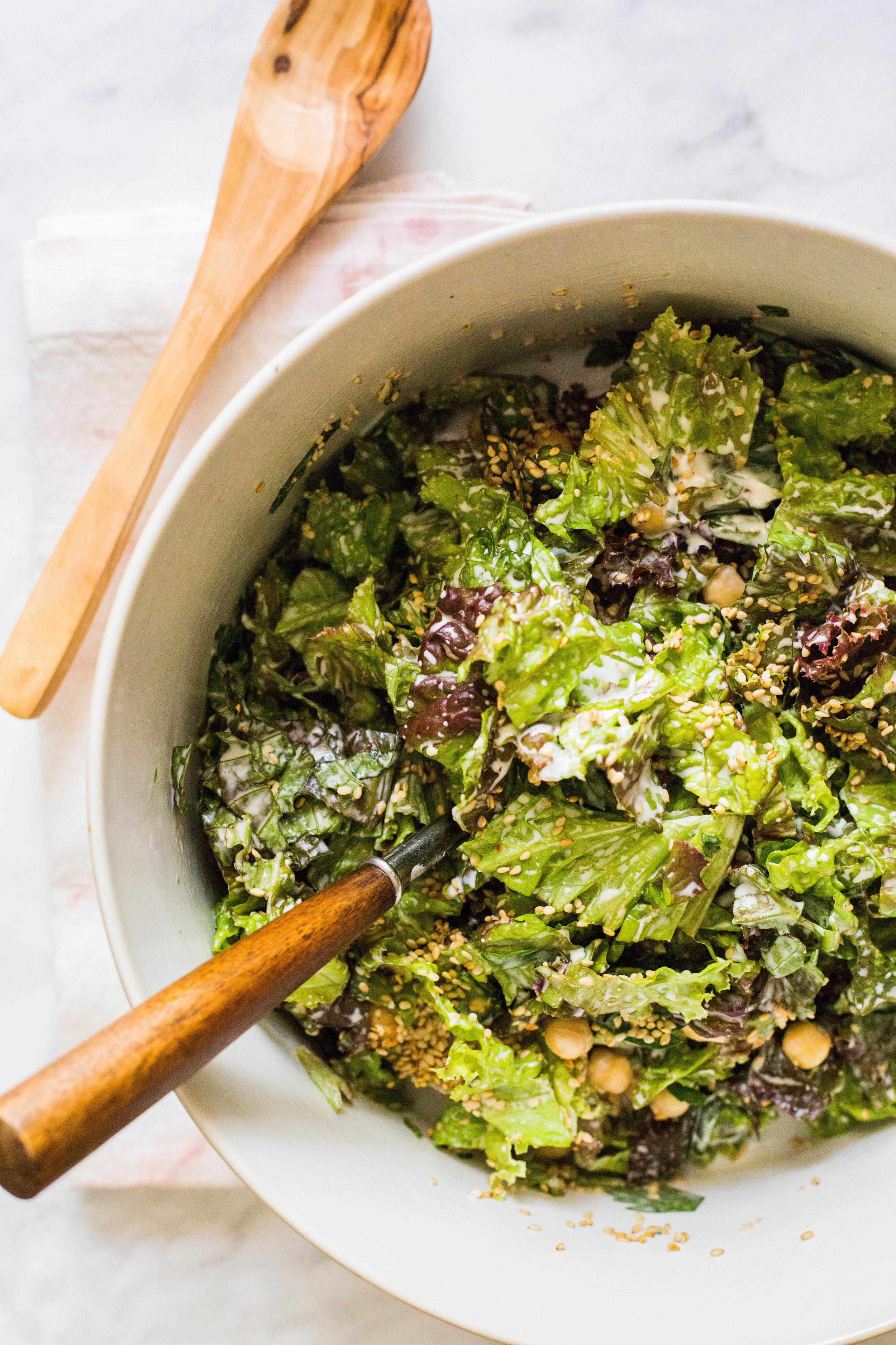 red leaf lettuce salad | sautéed noodles | gluten-free vegan