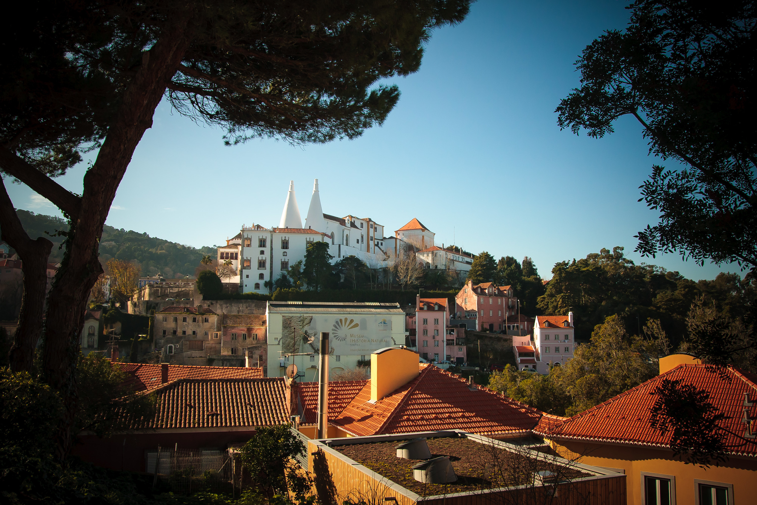 View over the town and National Palace of Sintra (the white cones)