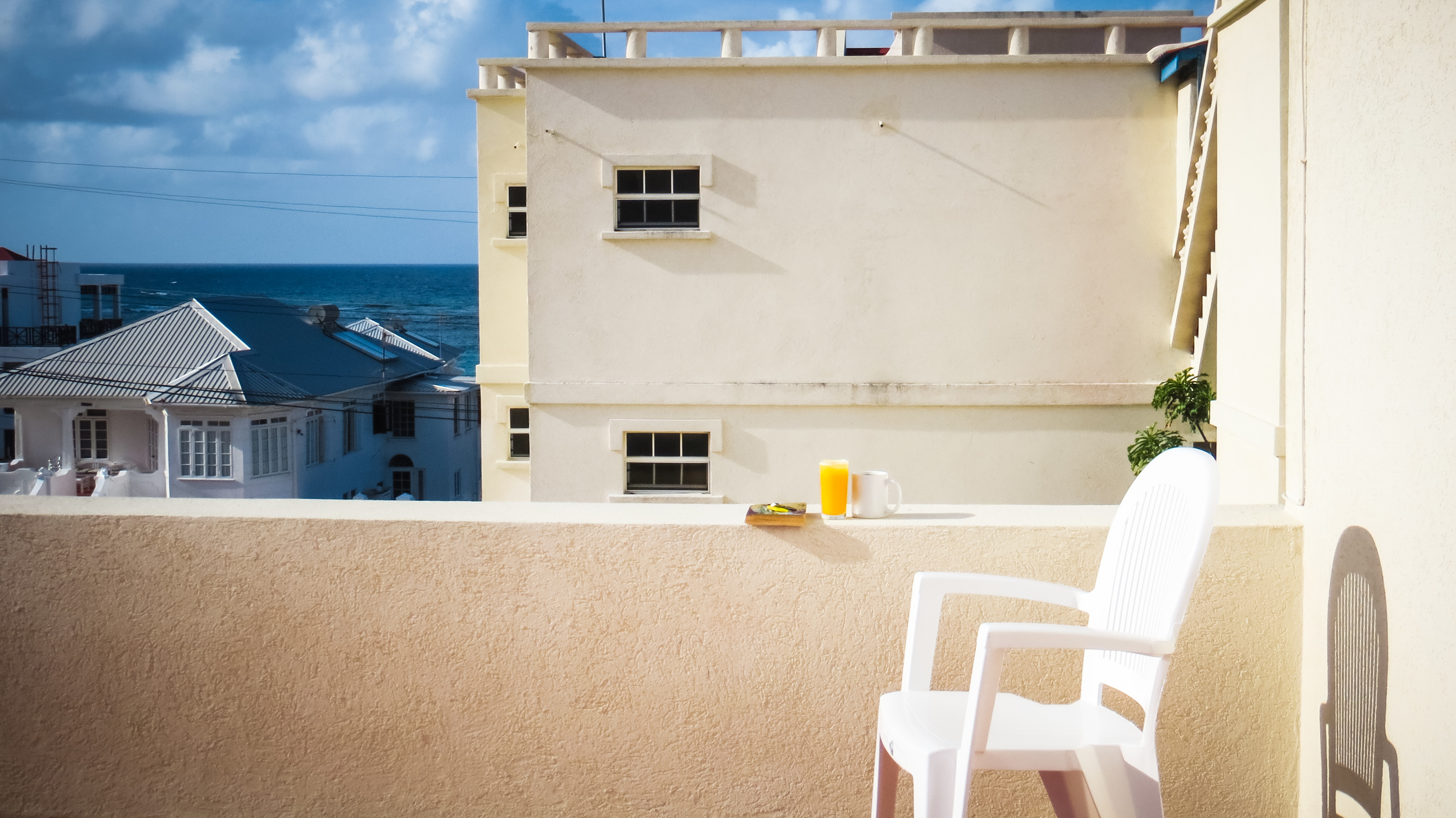 Most mornings I made juice from fresh fruit and sat up here for a morning sun-bathe with my book.