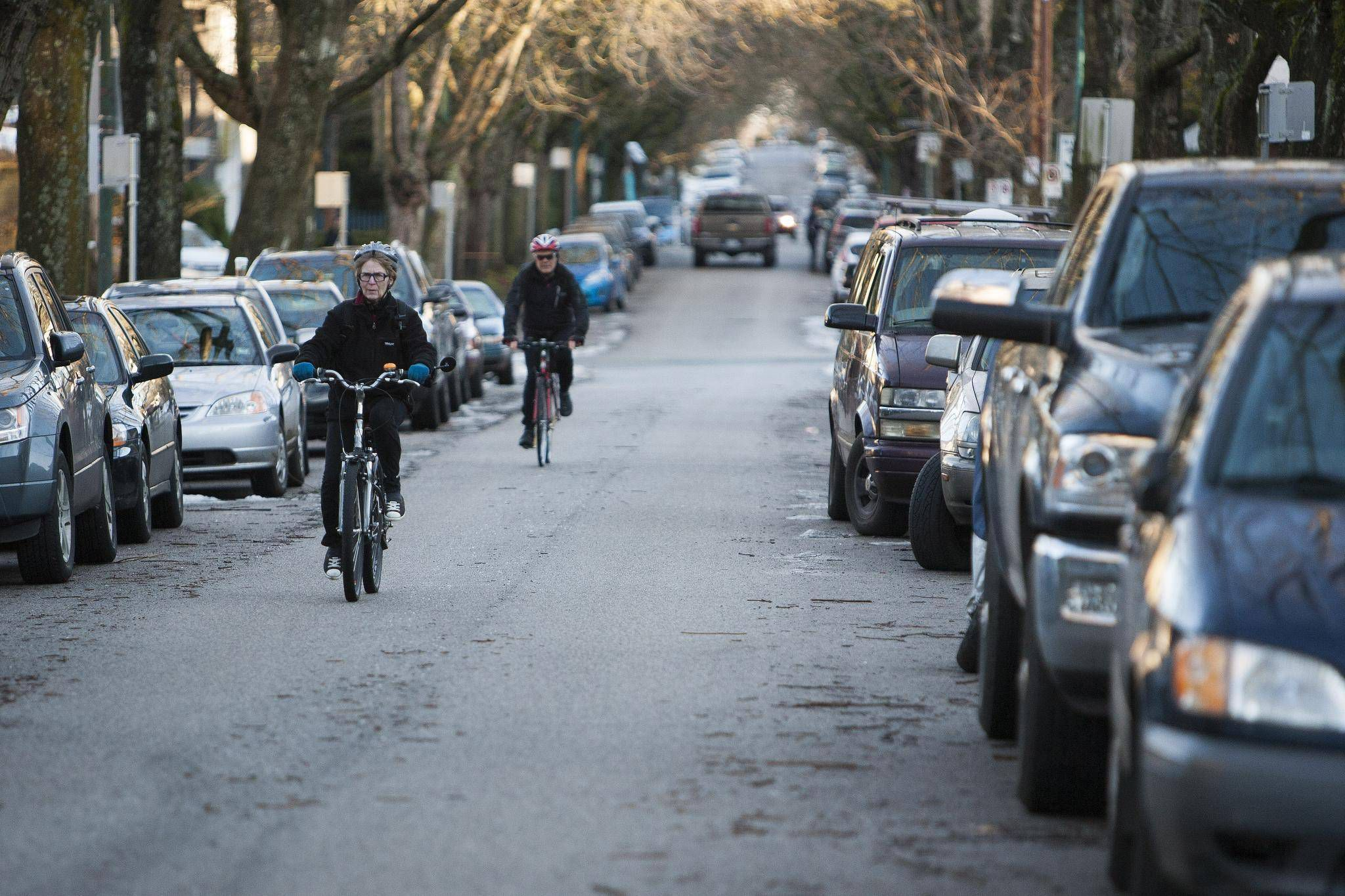 10th & Yukon - a popular 'shared bike street' in Vancouver. A full 60% of Vancouver's 280km of bike routes are actually on side-streets like this.  Photo / Globe & Mail