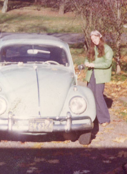 That's me. Circa 1972, wearing Seafarers - the real kind - with buttons. And my first car, a '63 VW safari top.