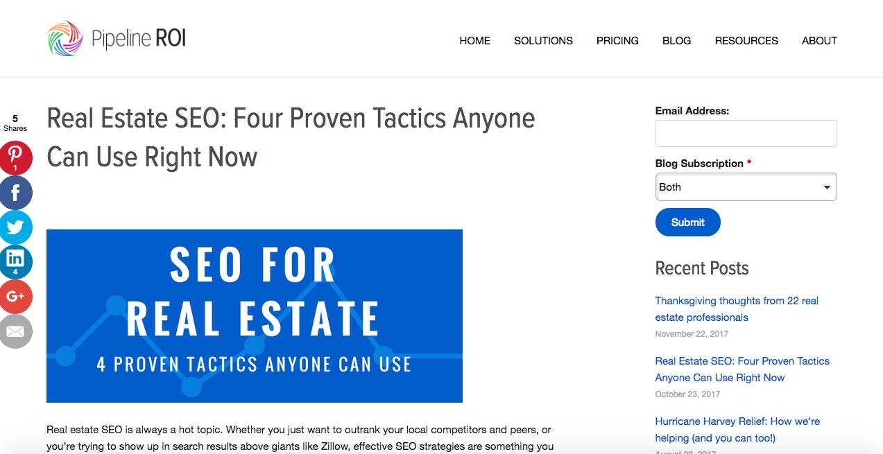 Real estate SEO blog post -