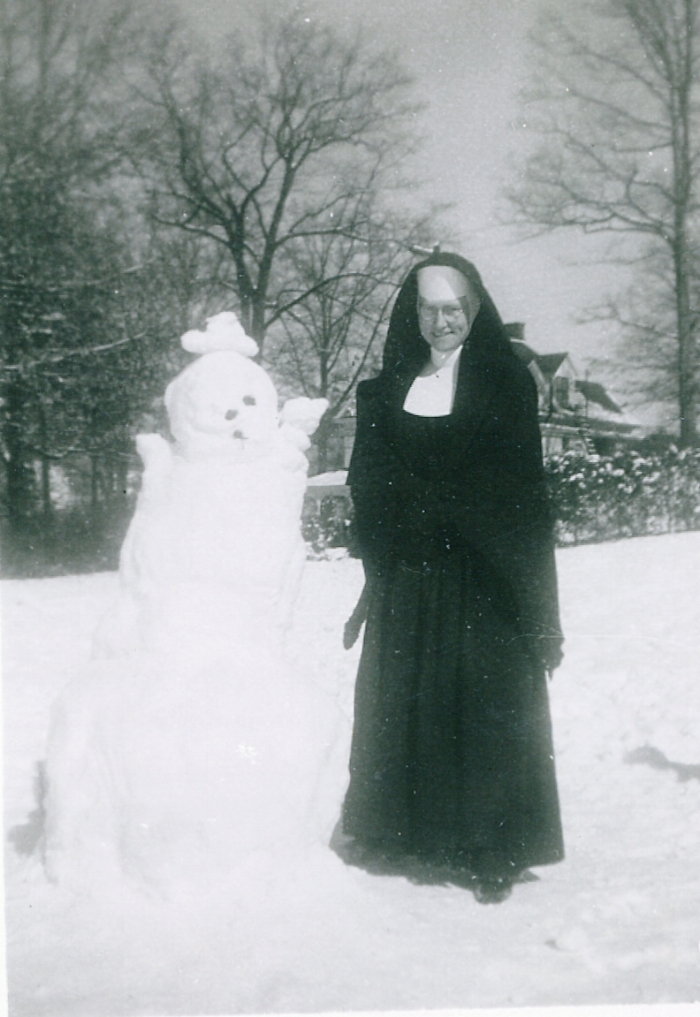 Sr. Margaret (aka Sr. Mary Theonita) and Snowman