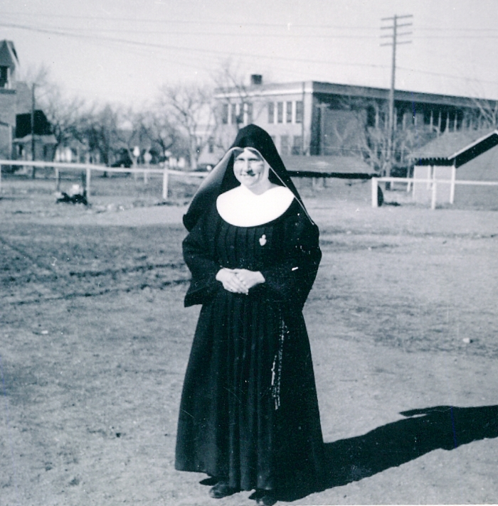 Either playground duty or outfield - Sr. Margaret.