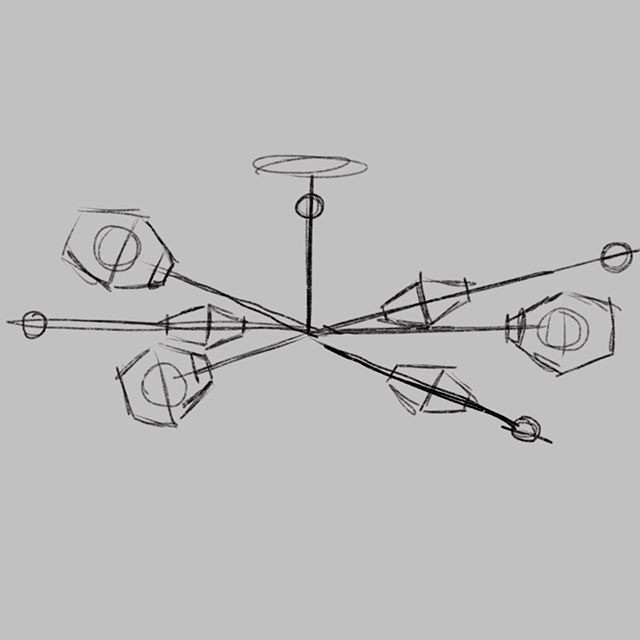 This rough gesture sketch is the start of the plan for a chandelier going in our front formal room. This definitely will be my most challenging piece yet, and will utilize a complex 3D printed brass joint in the middle. #designstl #stlcustomlighting #lightfixture #lightingdesigner #procreate #idsketching #productdesign #stlmade #contemporarylighting