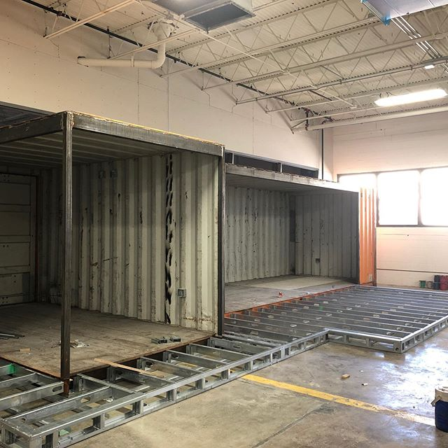The other side of the container is open to the warehouse and will be a collaboration room. The floor is being extended out. I may never leave this area.... #designstl #madeinstl #industrialdesign #agency