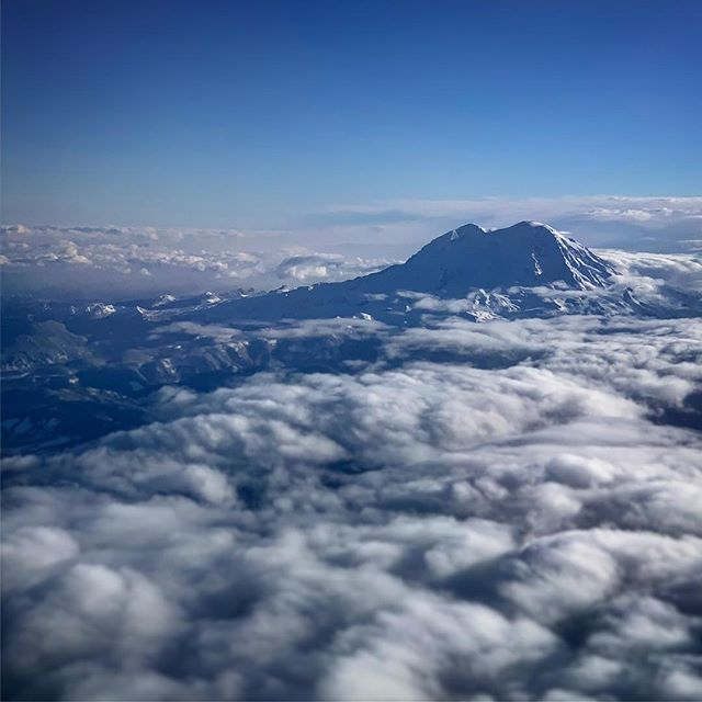 Glimpse of snow covered Mt. Rainier from above.