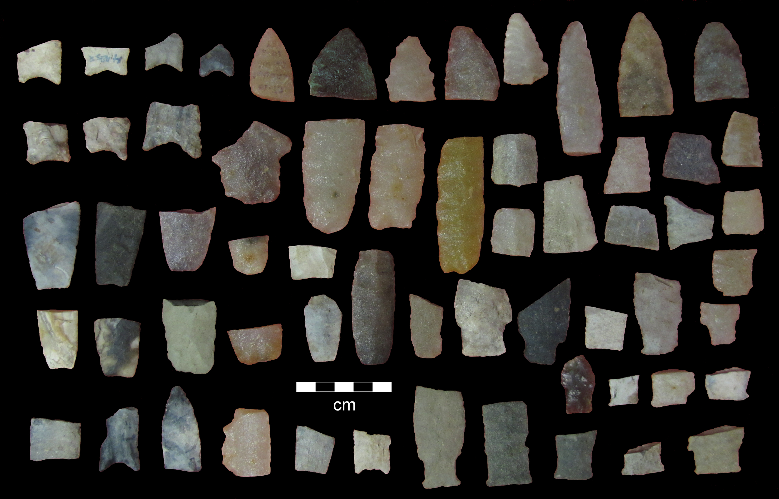 Top: Bead analyzed using Laser Ablation - ICP-MS (Inductively-Coupled Plasma - Mass Spectrometry).  Courtesy Heather Walder.   Bottom: Paleoindian projectile points and preforms in the Babler collection from the Forks View site (47-CT-100).  Courtesy John Lambert.