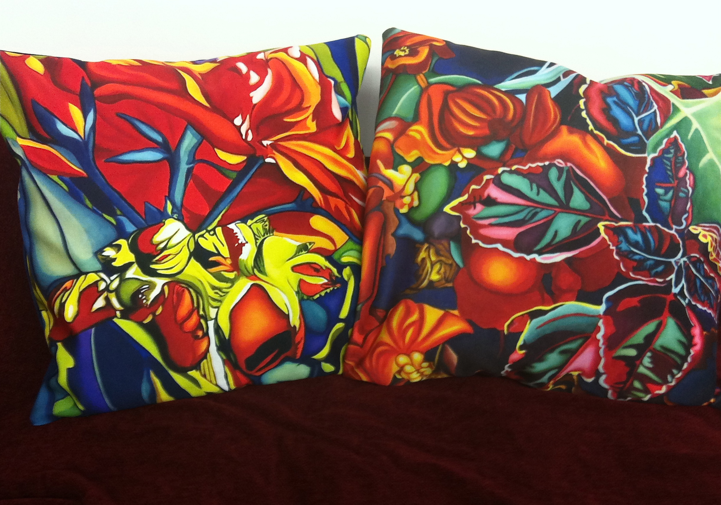 Emerging Red and Tapestry pillows