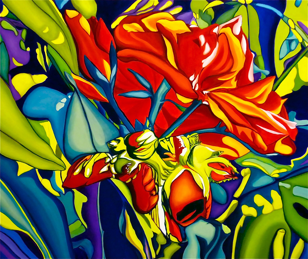 """Emerging Red  30"""" x 36""""  oil on canvas"""