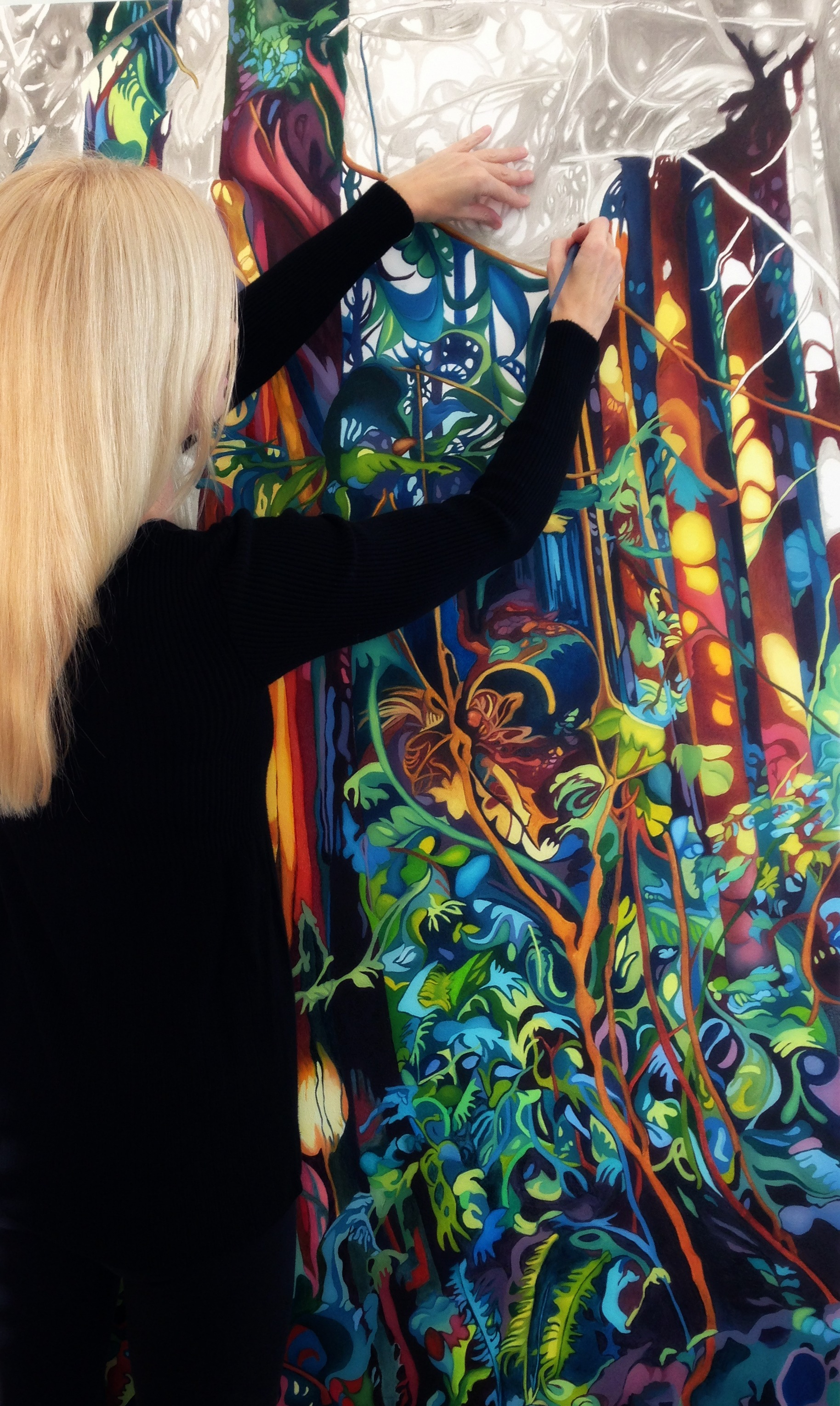Painting enchanted forest, adding colour layers