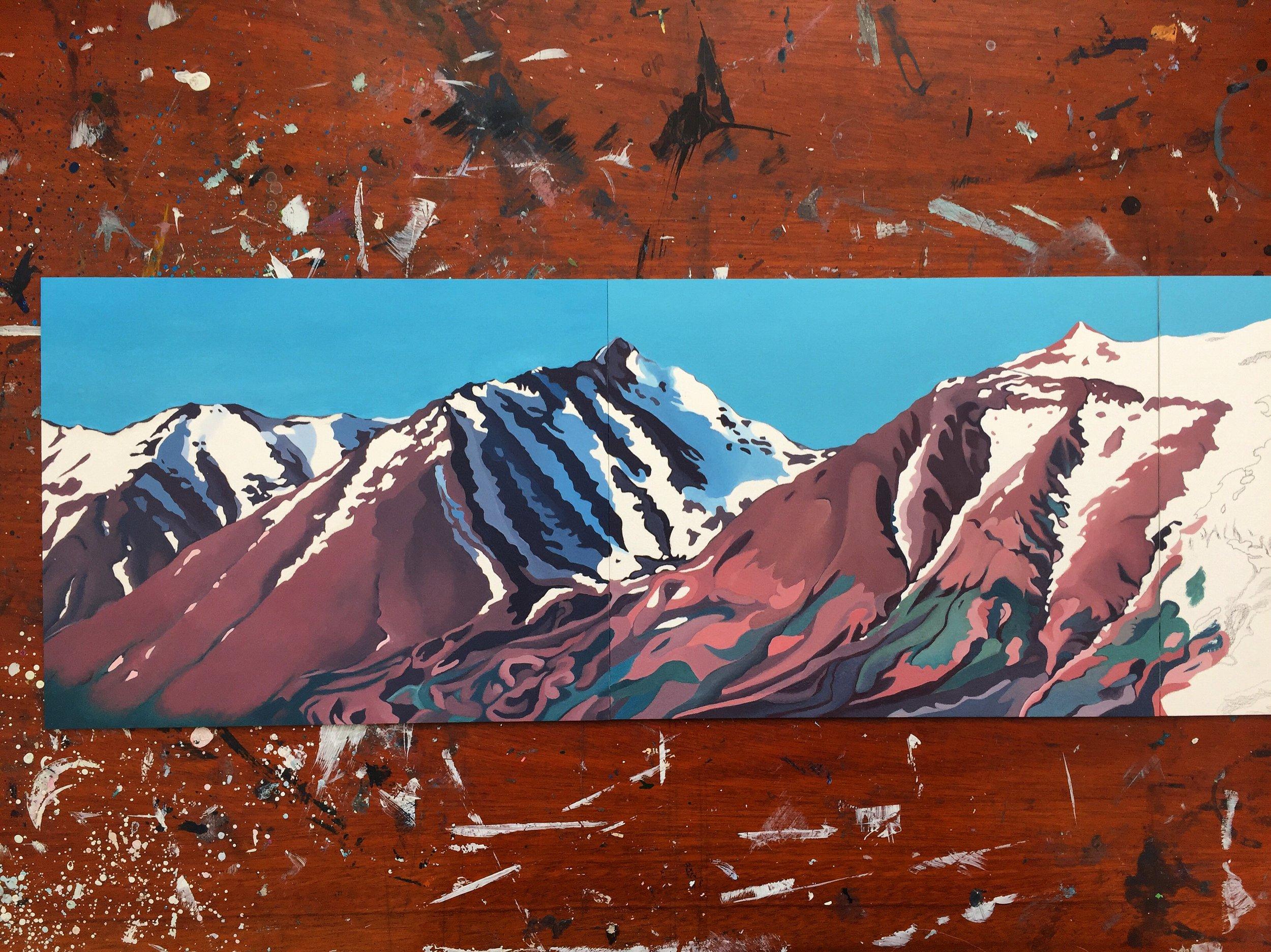 Hrisey mountains - Triptych, work in progress
