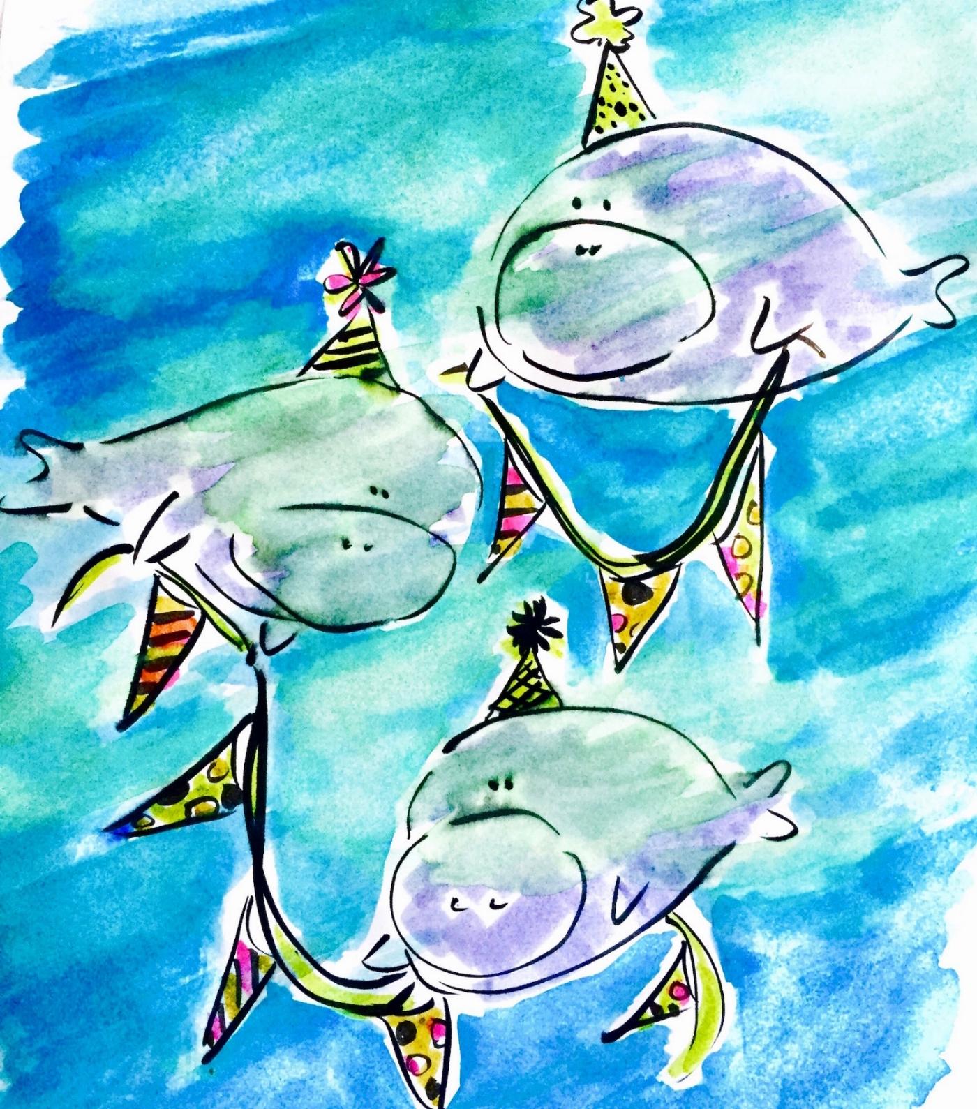 The rare birthday banner manatees, aka banatees