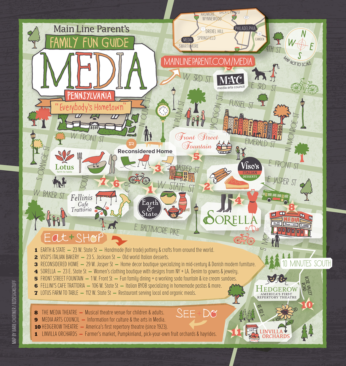 Map of Media, PA for Main Line Parent Magazine  |  illustrated by Barb Chotiner