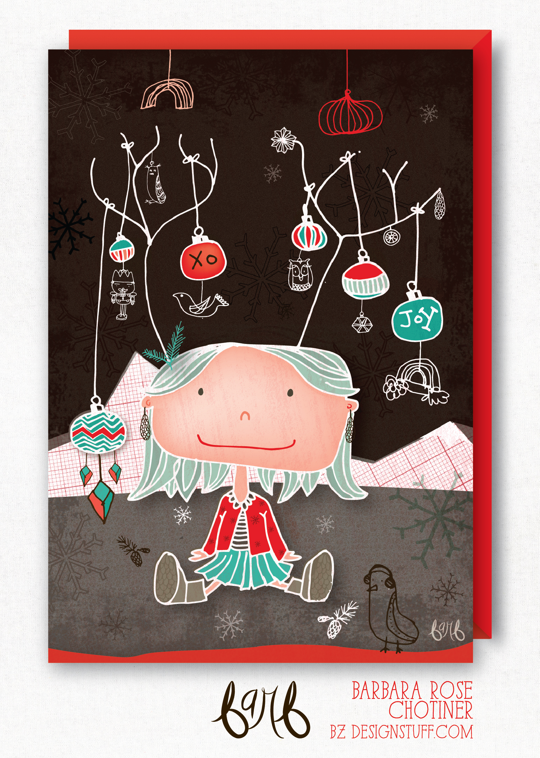 antler girl - holiday card - by bz designstuff