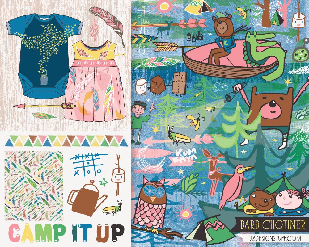 """camp it up"" artwork for children's apparel | by bz designstuff"