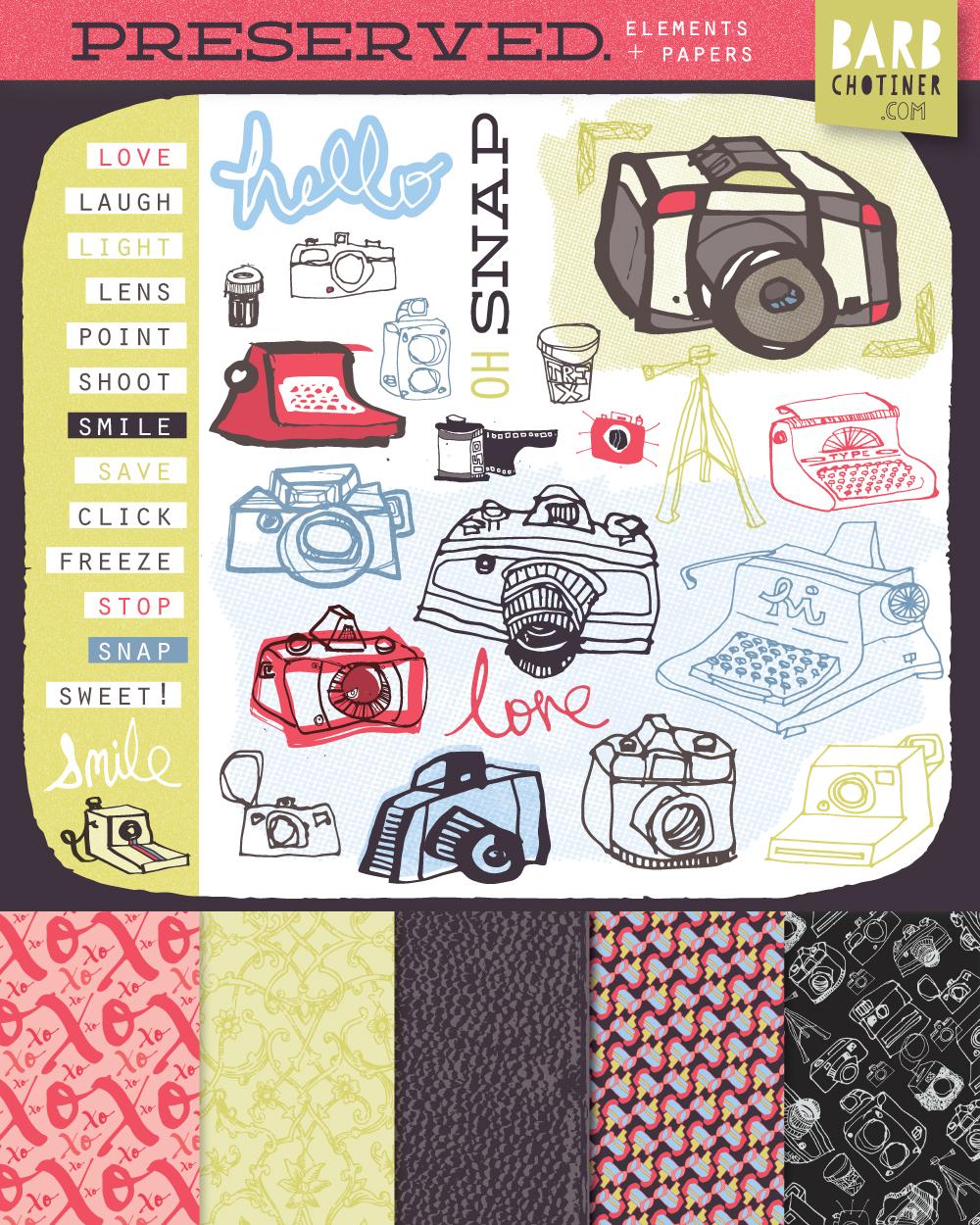 barbara chotiner | art for scrapbook collection - featuringretro camera / typewriter art