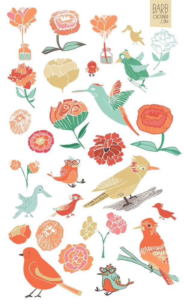 bzdesignstuff | birds and peonies | 2013