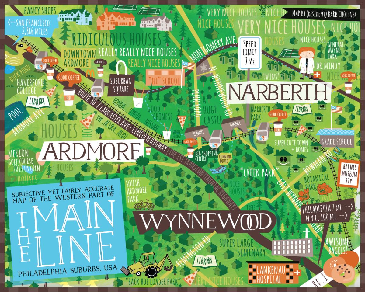 Map of The Main Line by Barbara Chotiner - bzdesignstuff.com
