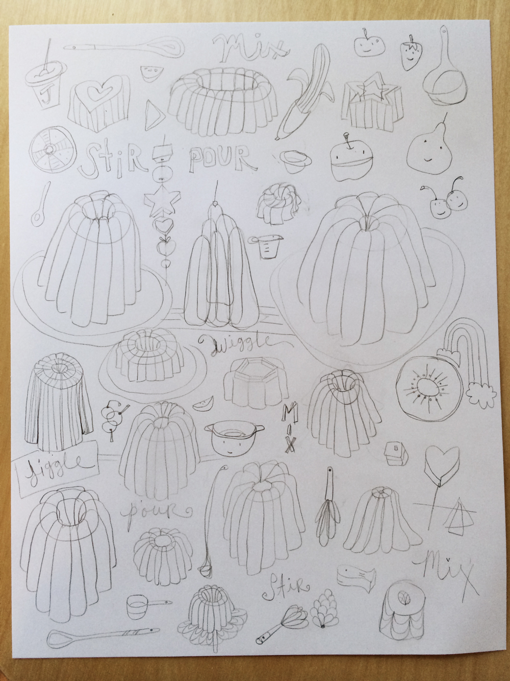 pencil sketches for Making Art that Sells Bootcamp - March 2014 - Jello - by Barb Chotiner