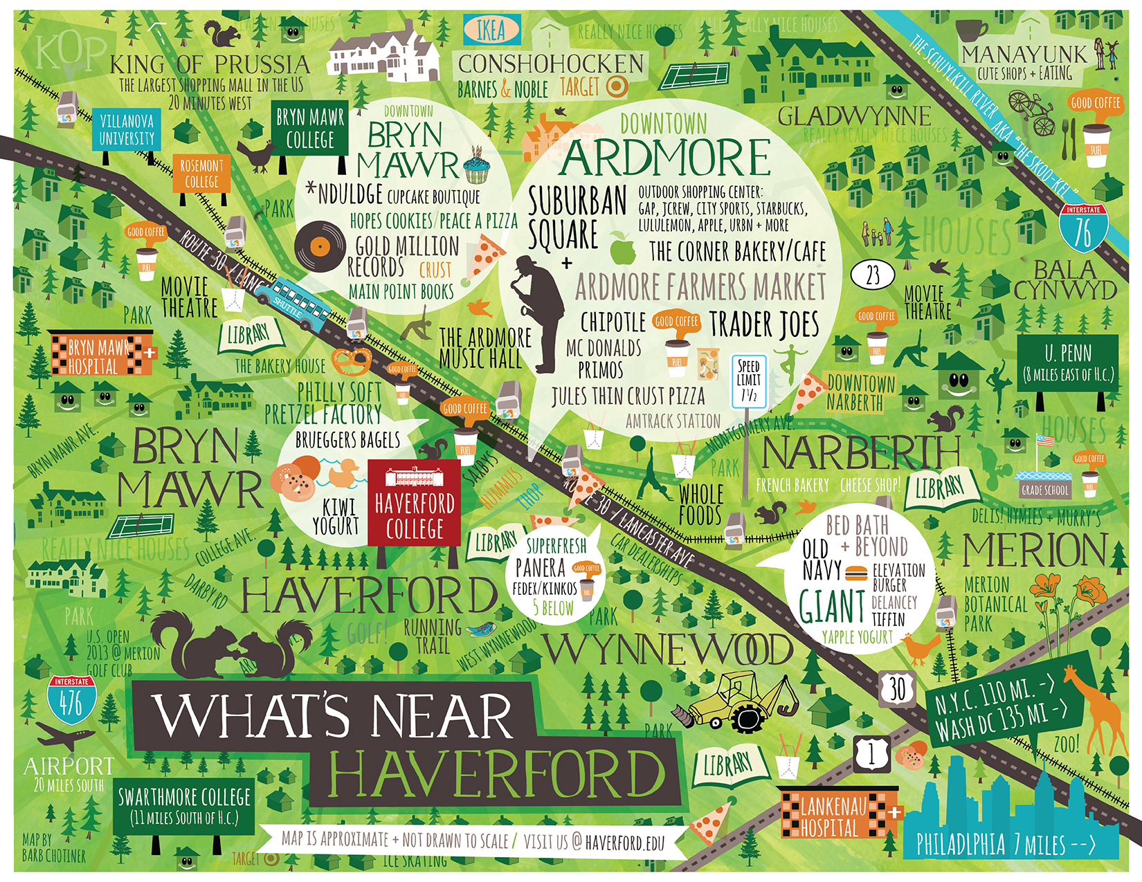 Map designed for Haverford College - Artwork by Barbara Chotiner