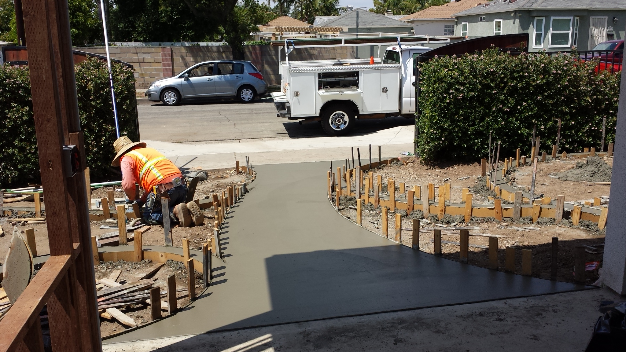 Walkway being poured