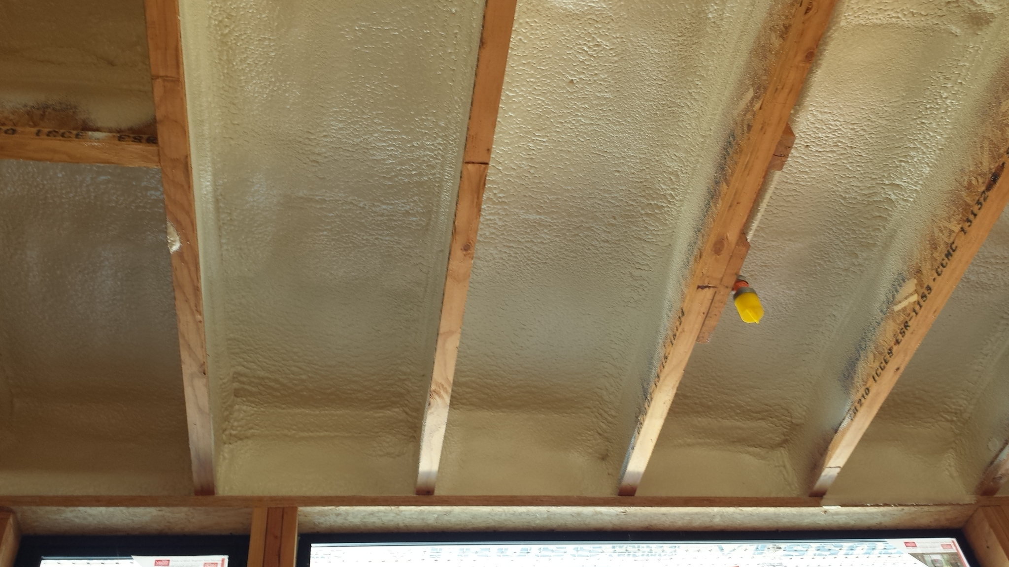 Closed cell spray foam insulation was applied first