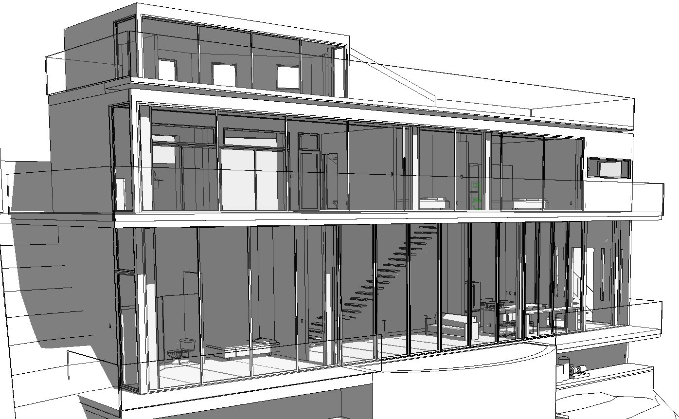 Black and white rendering showing cantilevering stair on first level