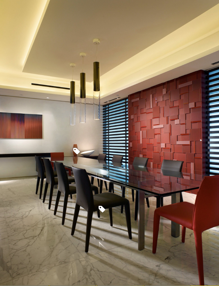 Here is an example of a specific art wall and a specific, separate feature wall. The feature wall is bold and very textural. The art wall is simple and plain, allowing the focus to be on the art. Each stands on its own and neither competes with each other