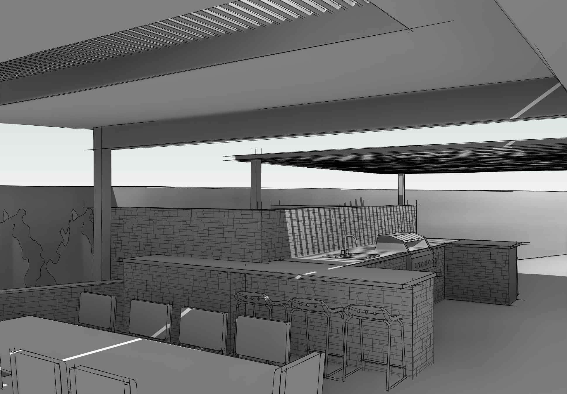 Looking over Dining Area toward BBQ Area