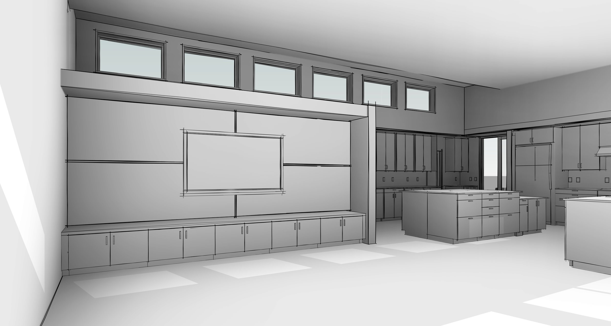 3M Model of the Media Wall-Looking towards Kitchen