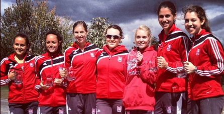 2012 McGill XC Open Champions (R to L: Jullien Flynn, Jessica Porfilio, Evelyn Anderson, Madeleine Williams, Caroline Pfister, Sarah McCuaig & Madeleine Cummings)