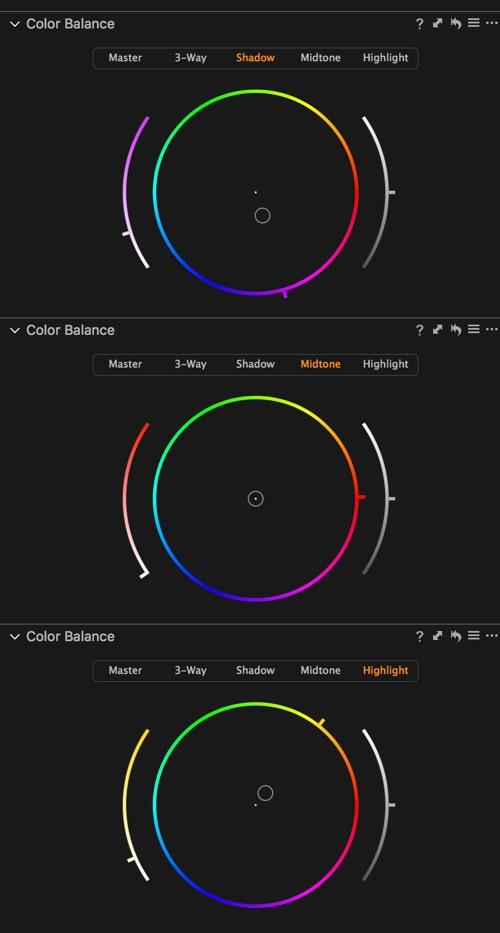 The colour balance settings.