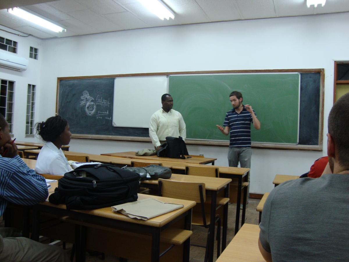 matt sharing Christ with a class