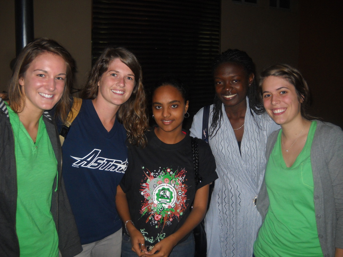 andrea with friends that came to cell group after she met them on campus